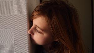 A lady peeping